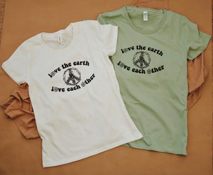 Love the Earth, Love Each Other - Women's/Unisex - Natural/Green