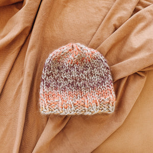 Gradient Knit Hat in Plum, Salmon, and Mustard