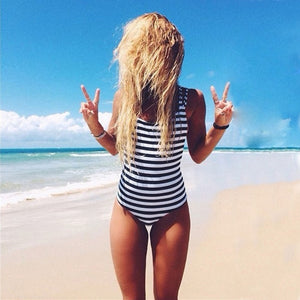 Padded Striped Backless One Piece Swimsuit