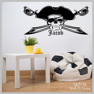 FREE UK Delivery Wall Stickers & Decals - Personalised Pirate Skull Wall Sticker - Walls Of Wisdom