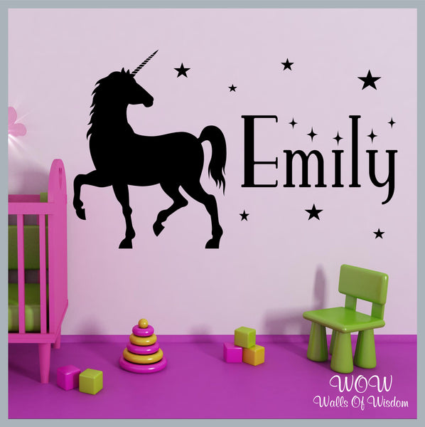 FREE UK Delivery Wall Stickers & Decals - Unicorn Wall Sticker Personalised Name. - Walls Of Wisdom