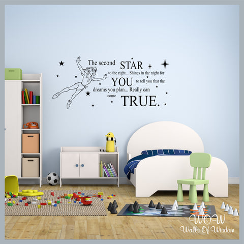 FREE UK Delivery Wall Stickers & Decals - Peter Pan Neverland Second Star to the Right - Walls Of Wisdom