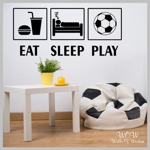 FREE UK Delivery Wall Stickers & Decals - Eat Sleep Play Football Wall Sticker - Walls Of Wisdom