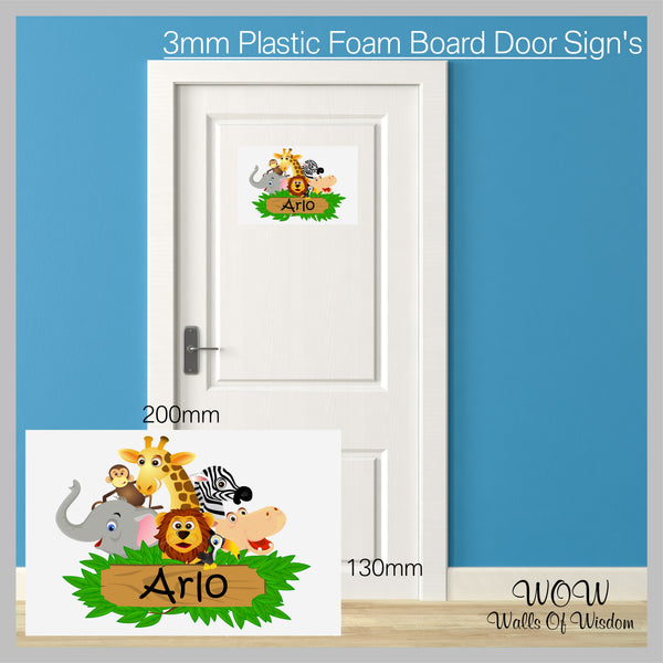 FREE UK Delivery Personalised Door Sign 3mm Plastic Foam Board The Jungle - Personalised