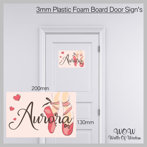 FREE UK Delivery Personalised Door Sign 3mm Plastic Foam Board - Personalised Ballet Sign