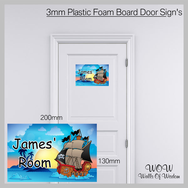 FREE UK Delivery Personalised Door Sign 3mm Plastic Foam Board Pirates - Personalised