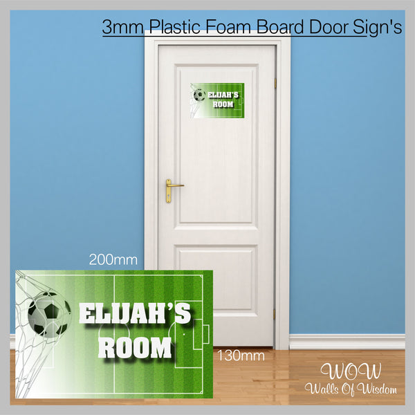 FREE UK Delivery Personalised Door Sign 3mm Plastic Foam Board Football - Personalised