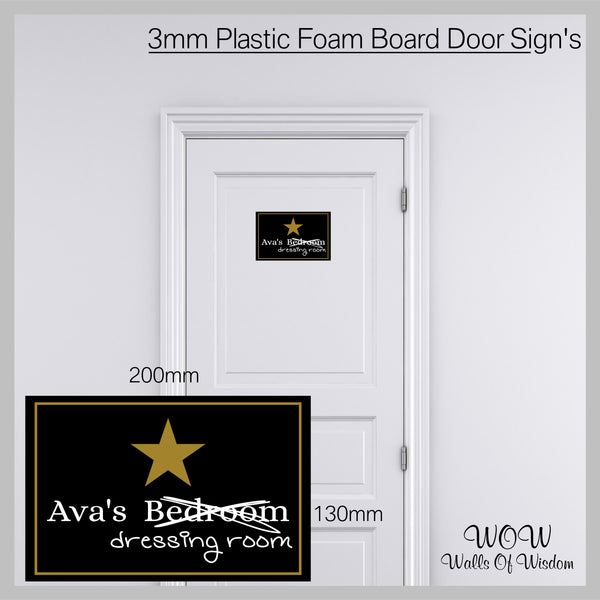 FREE UK Delivery Personalised Door Sign 3mm Plastic Foam Board Dressing Room - Personalised