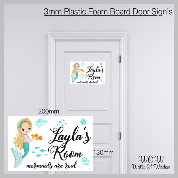FREE UK Delivery Personalised Door Sign 3mm Plastic Foam Board Mermaids Are Real - Personalised