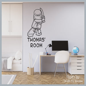 FREE UK Delivery Wall Stickers & Decals - Lego Ninjago Ninja Personalised name. - Walls Of Wisdom