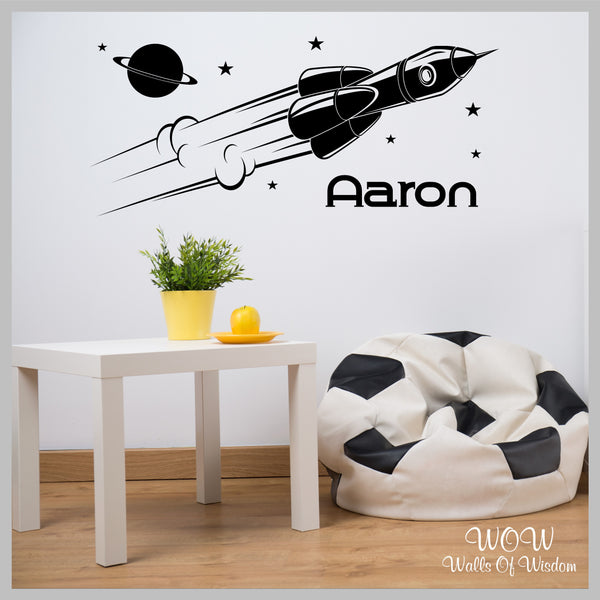 FREE UK Delivery Wall Stickers & Decals - Space Rocket Personalised Wall Sticker - Walls Of Wisdom