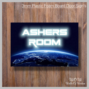 FREE UK Delivery Personalised Door Sign 3mm Plastic Foam Board Space - Personalised