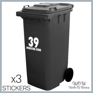 FREE UK Delivery Personalised Wheelie Bin Stickers House Number Street Name x 3 Stickers - Walls Of Wisdom