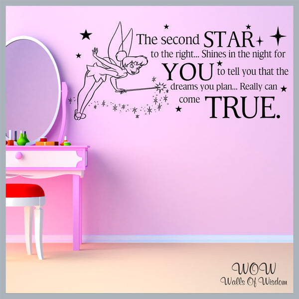 FREE UK Delivery Wall Stickers & Decals - Tinkerbell Neverland Second Star to the Right - Walls Of Wisdom