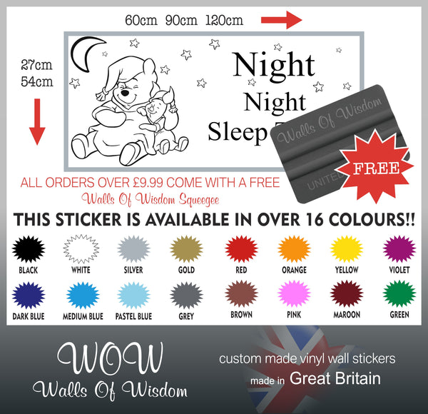 FREE UK Delivery Wall Stickers & Decals - Winnie the Pooh Sleep Tight - Walls Of Wisdom