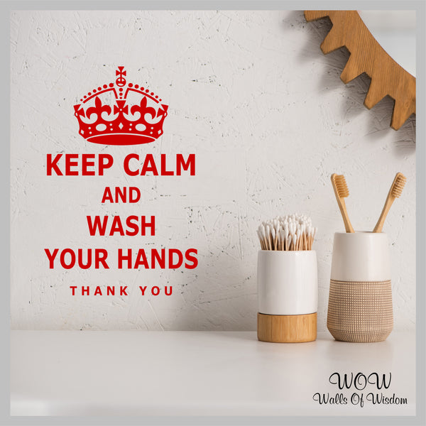Keep Calm And Wash Your Hands Sticker Wall Sticker Wall Decal Mirror Sticker - Walls Of Wisdom