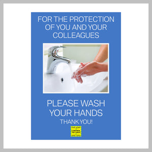Pack Of 3 'Please Wash Your Hands' A5 (148mm x 210mm) Stickers Ideal For Offices & Shops