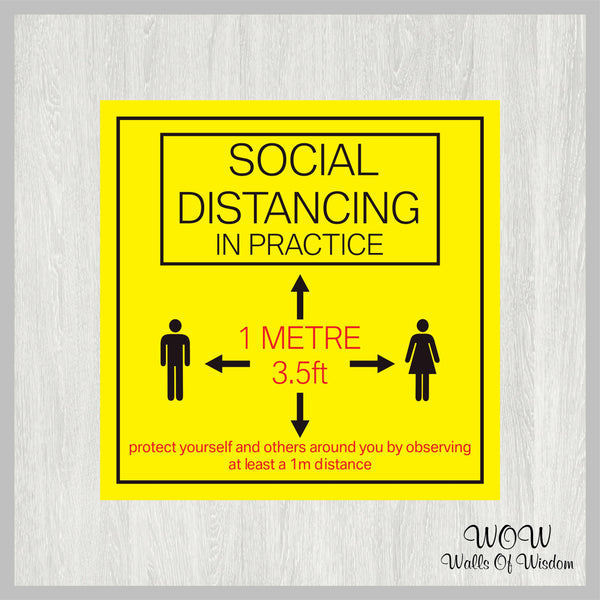 Pack Of x2 Square 300mm x 300mm Anti-Slip Printed Floor Sticker 'Social Distancing In Practice'