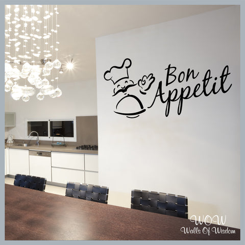 FREE UK Delivery Wall Stickers & Decals - Bon Appetit Kitchen Wall Sticker - Walls Of Wisdom