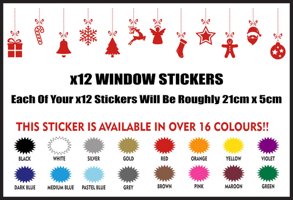 Walls Of Wisdom Christmas Display Stickers Set x12 Stickers Per Set Xmas Shopping - Walls Of Wisdom