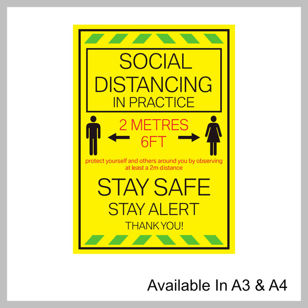 Pack Of 4 Social Distancing In Practice Posters Ideal For Shop Or Office Available Printed A3 & A4