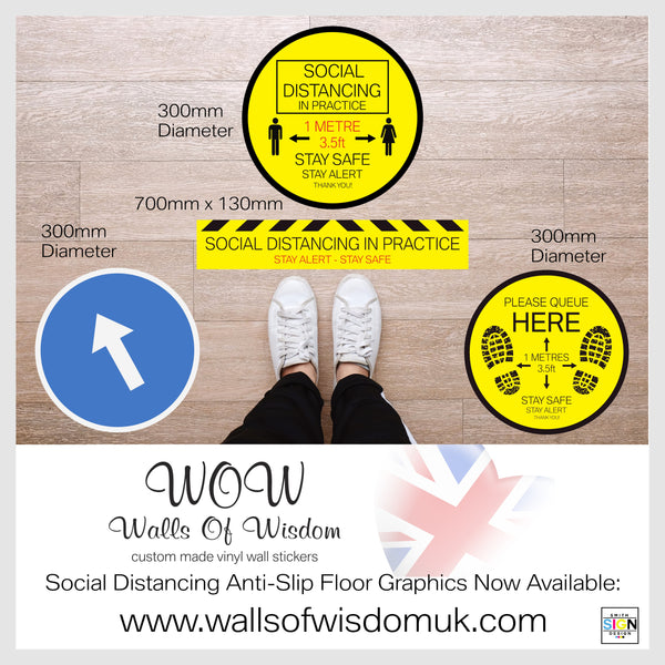 Pack Of x2 Round 300mm Diameter Anti-Slip Floor Sticker 'Navigation' Arrow Stickers