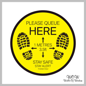 Pack Of x2 Round 300mm Diameter Anti-Slip Floor Sticker 'Please Queue Here' Stickers