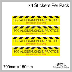 Pack Of 4 700mm x 130mm Anti-Slip Floor Sticker 'Social Distancing In Practice'