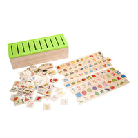 Wooden Classification Toy Box Pattern Matching with Fruits Animals and Shapes
