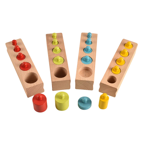 Wooden Knobbed Cylinders Socket 4pcs/set