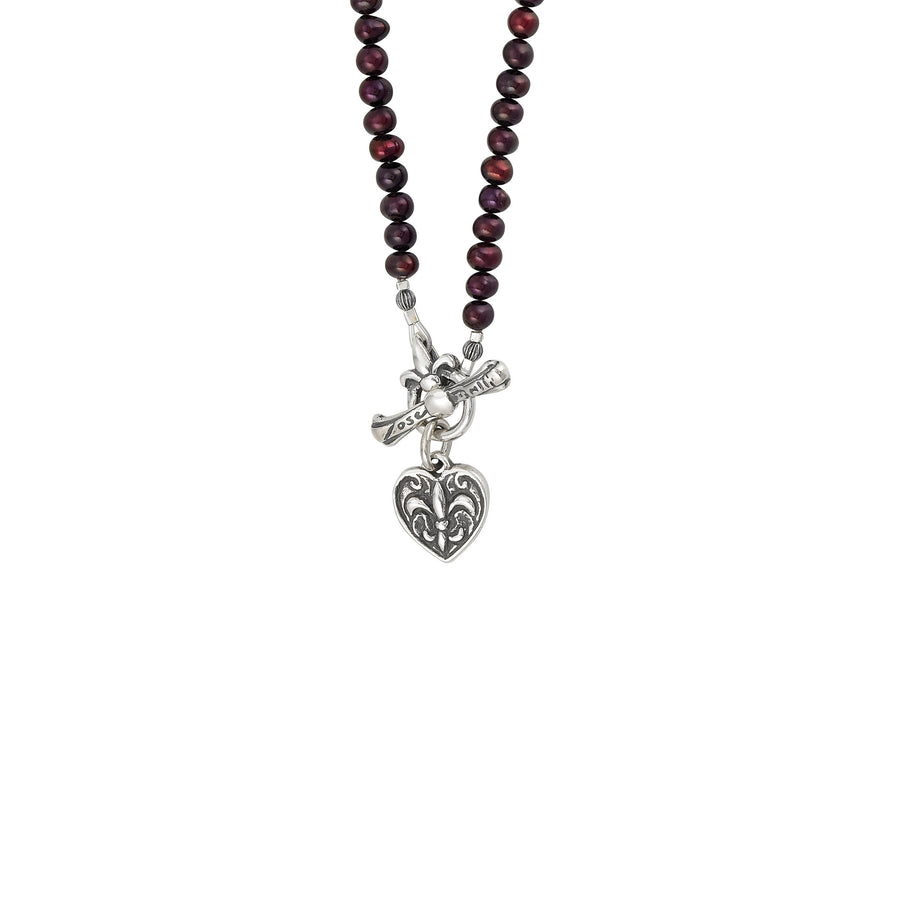 Image of Fleur de Lis Heart Pearl Necklace with Freshwater Cranberry Pearl