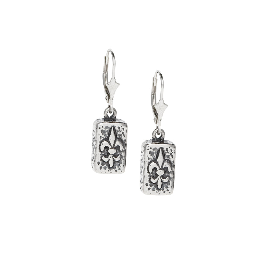 Fleur de Lis Brick Earrings