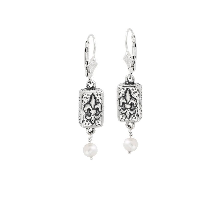 Fleur de Lis Brick Pearl Earrings
