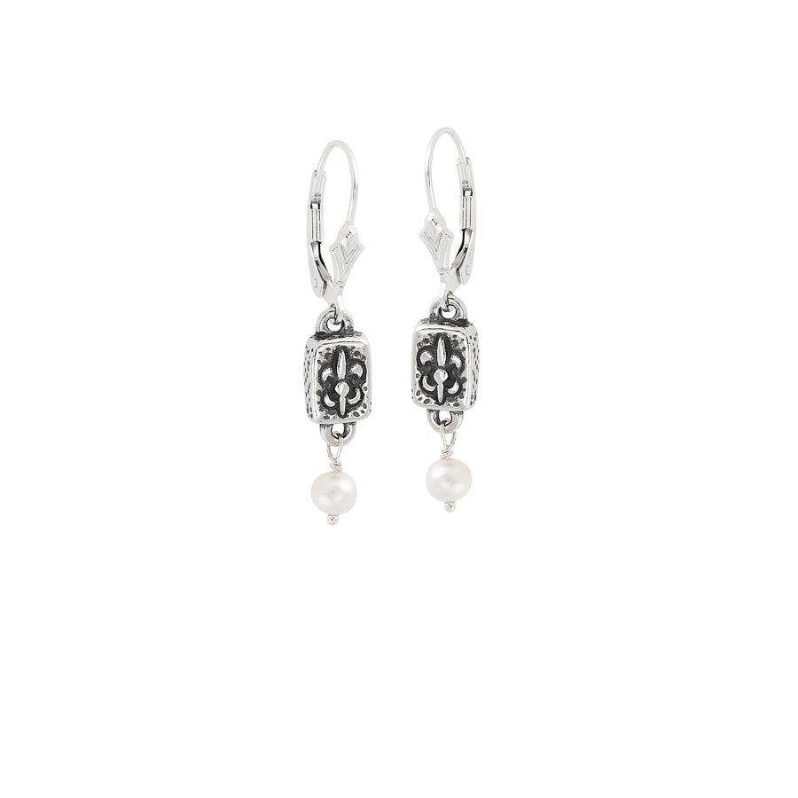 Fleur de Lis Brick Mini Pearl Earrings
