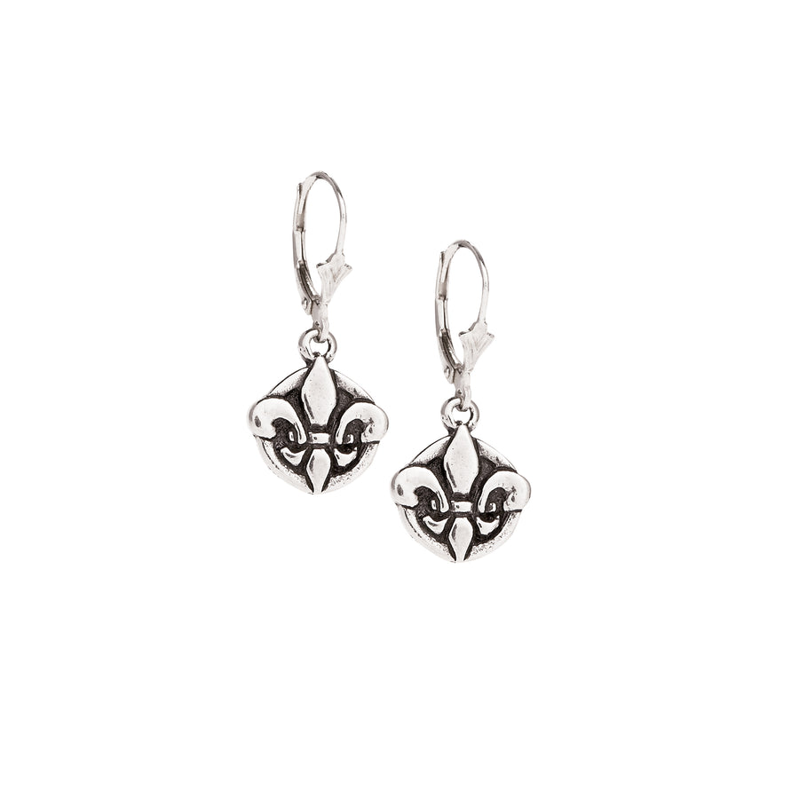 Fleur de Lis Circle Small Earrings