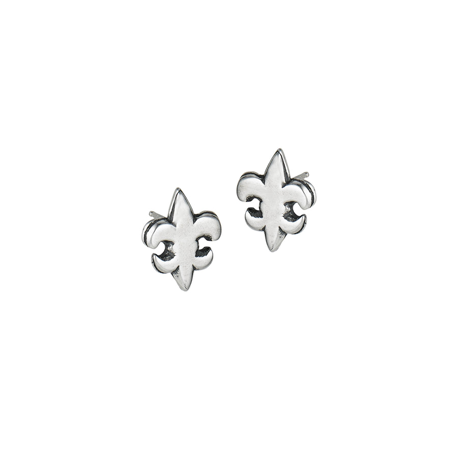 Fleur de Lis Flat Small Post Earrings