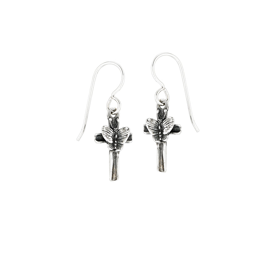 Butterfly Cross Earrings