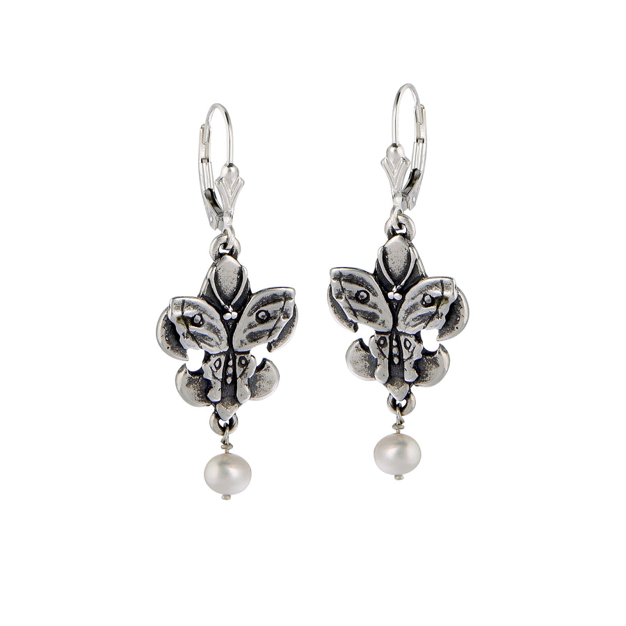Fleur de Lis Butterfly Pearl Earrings