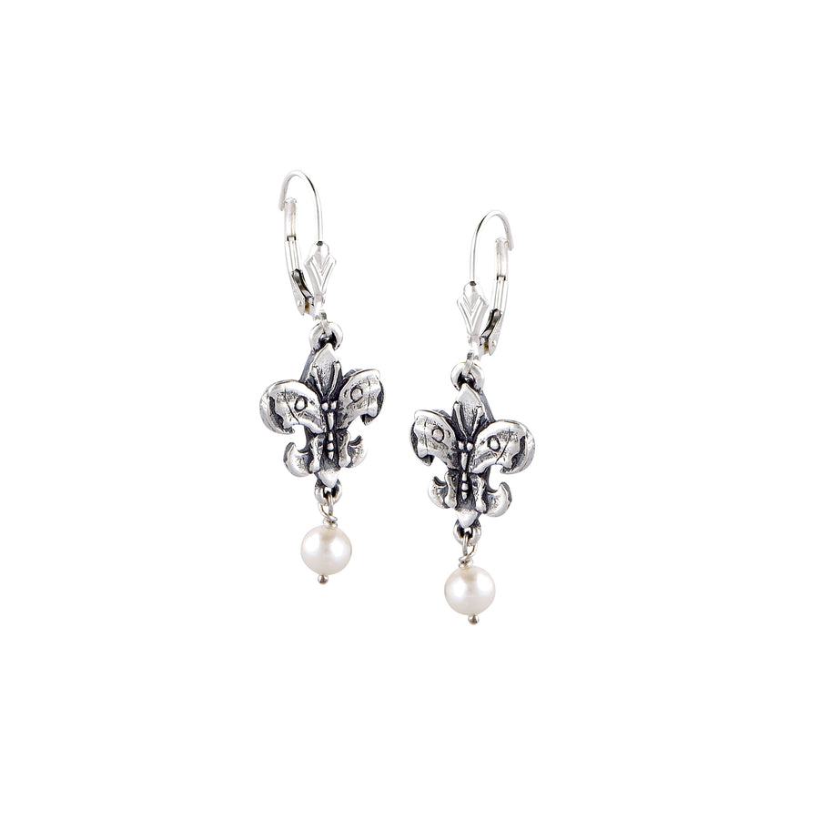 Fleur de Lis Butterfly Small Pearl Earrings