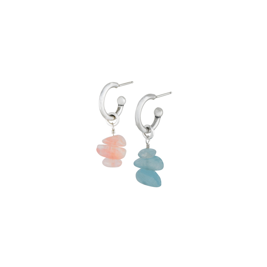 Pink & Blue Rock Candy Hoop Earrings
