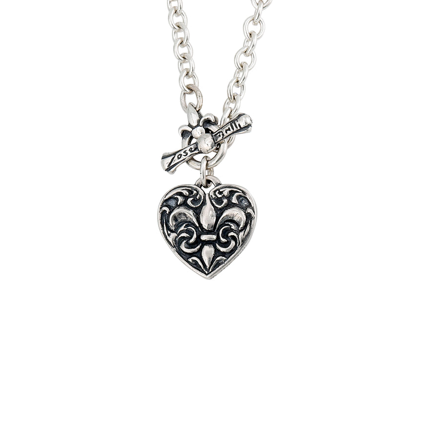 Fleur de Lis Heart Large Toggle Necklace