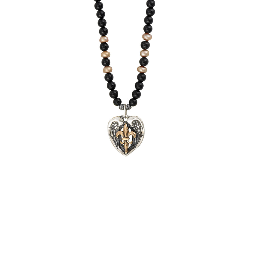 Saints & Angels 2-tone Onyx & Pearl Necklace