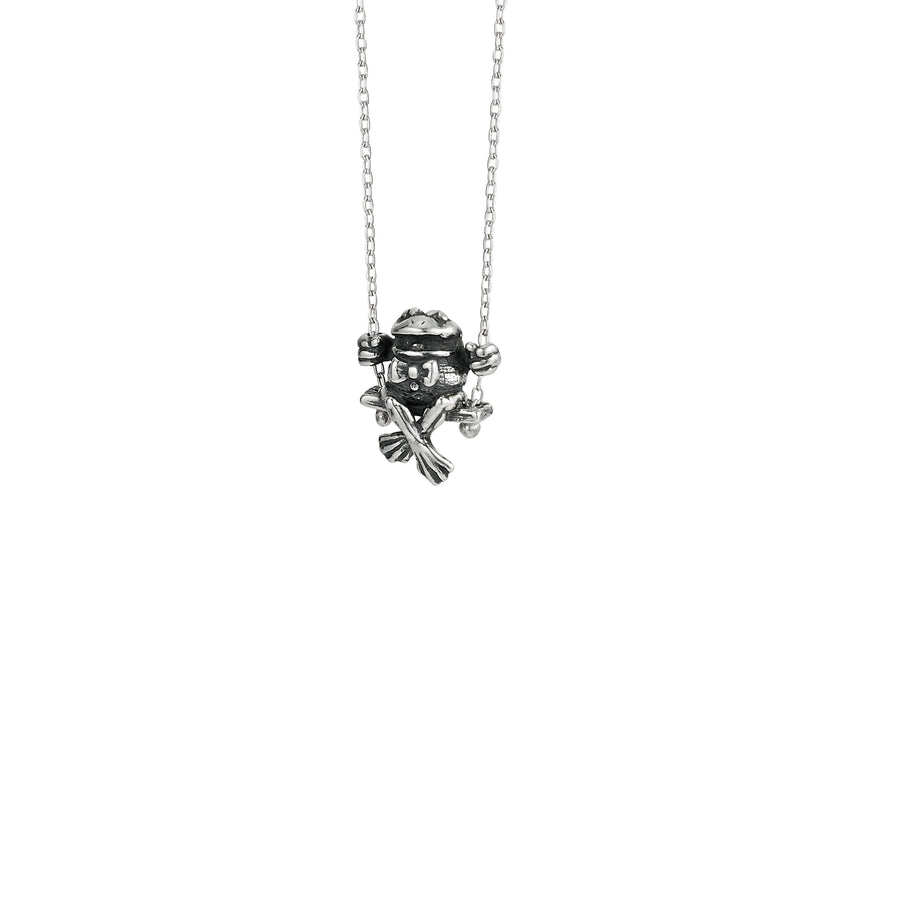 Frog Bow Tie Swinging Necklace