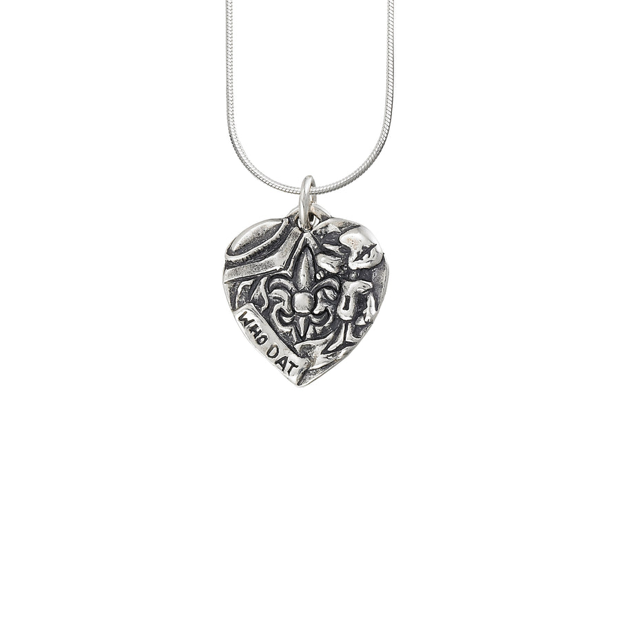 Who Dat Heart Solid Pendant