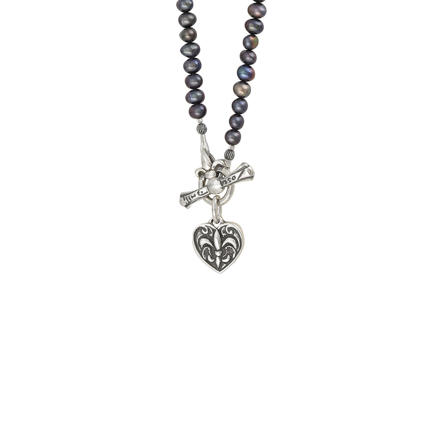 Image of Fleur de Lis Heart Pearl Necklace with Freshwater Peacock Pearl