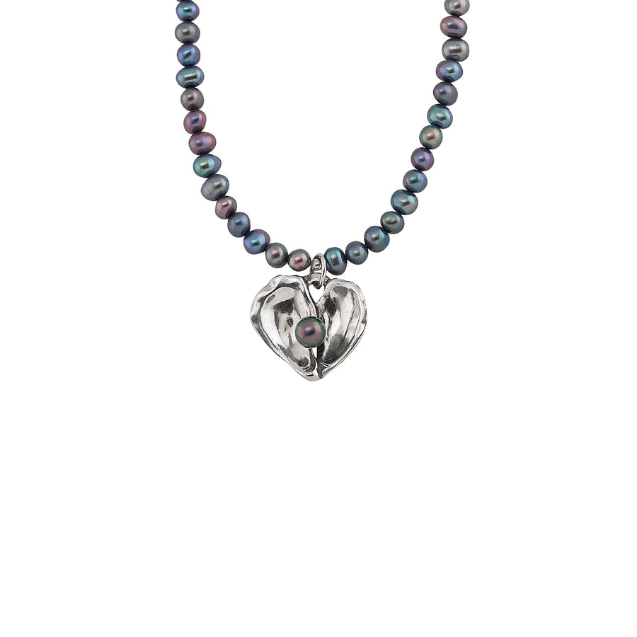 Image of Oyster Heart Pearl Necklace with Freshwater Peacock Pearls