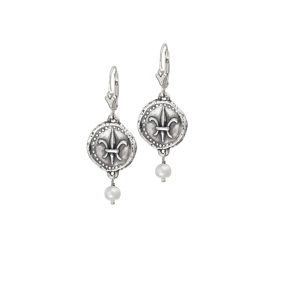 Image of Freshwater White Pearl Doubloon Earrings