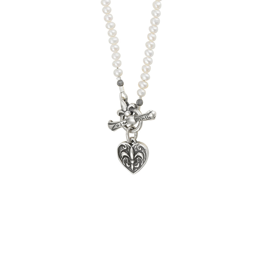 Image of Fleur de Lis Heart Pearl Necklace with Freshwater White Pearl