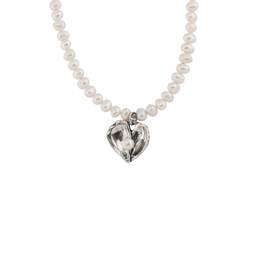 Image of Oyster Heart Pearl Necklace with Freshwater White Pearls