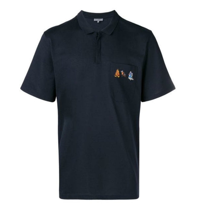 Navy Lanvin Embroidered Pocket Polo
